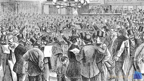 تصویر اجتماع مردم در شروع بورس و تاریخچه بورس